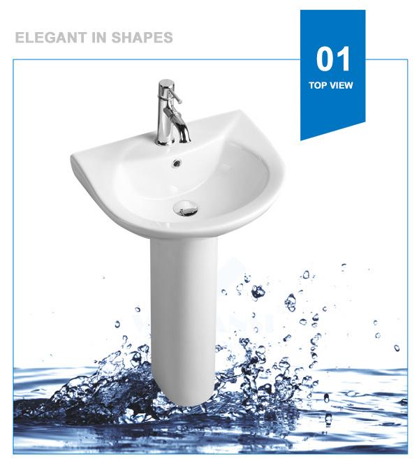 Weidansi Ceramic Wash Sink Pedestal Wash Basin (WDS-P7205)