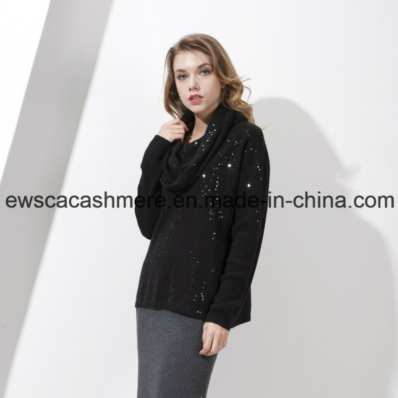 Women′s Pure Cashmere Knitwear with Sequins