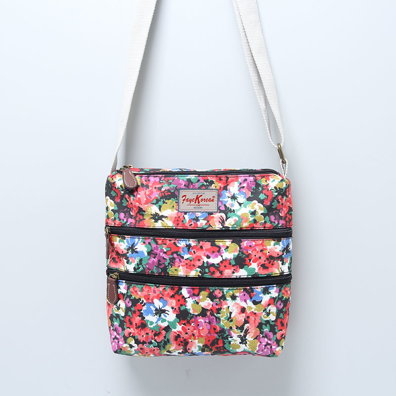 Colorful Floral Three-Tier Zipper PVC Canvas Bag (23296)