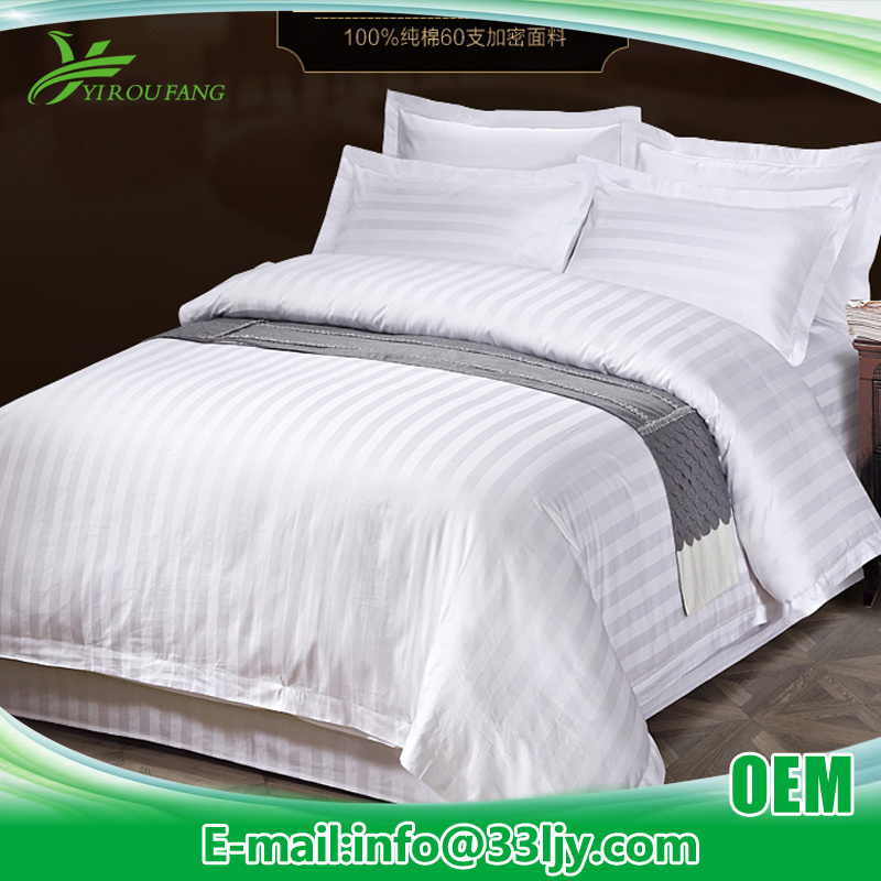 Cheap 300 Thread Count Bedding Sheet with 3cm Satin Stripe