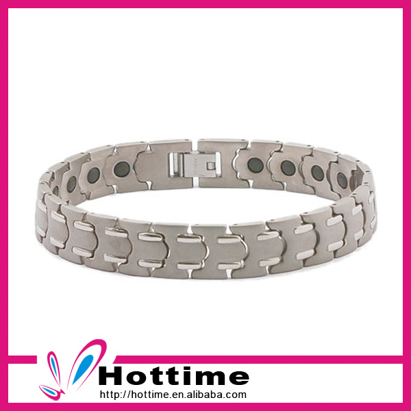 Hottime Fashion Jewelry Magnetic Stainless Steel Silver Bracelet (CP-JS-BL-077)