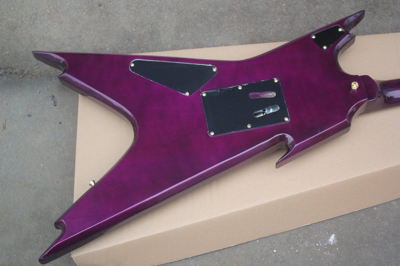 Hanhai Purple Unusual Shape Electric Guitar with Gold Floydrose