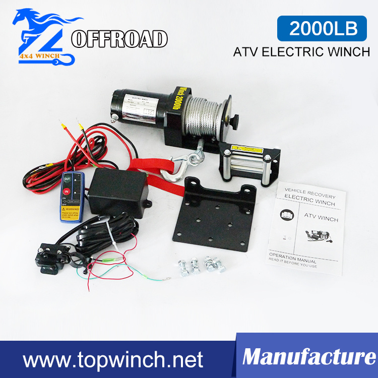 ATV 12V/24V DC Electric Winch with Wireless Remote Kit (2000lb-3)