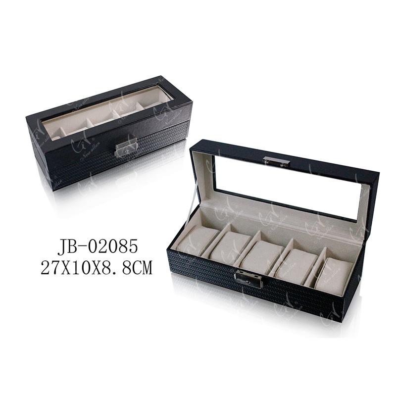 5 Slots Handmade Black PU Leather Packing Gift Box Watch Box Storage Box Watch Box