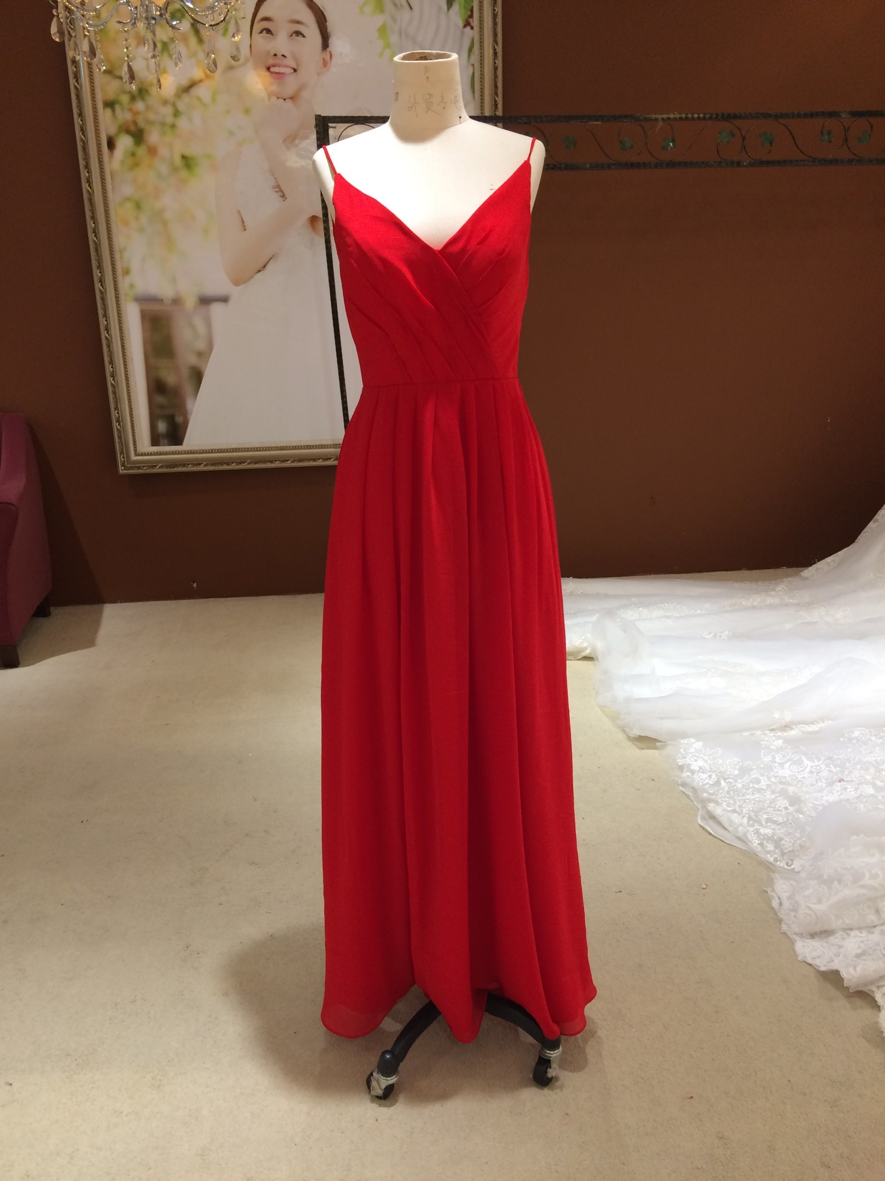 New Arrival 2017 Marriage Red Chiffon Bridesmaid Dresses
