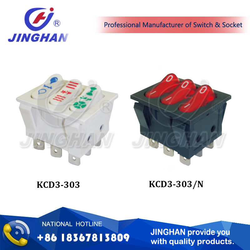 Kcd3-303 Hot Conditioner Rocker Switch 35*29mm Cooler Switch 16A 250V