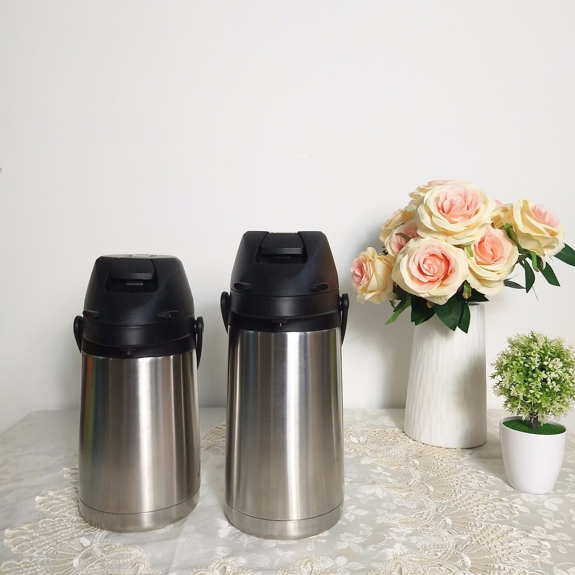 Insulated Vacuum Airpot Thermos Flask with Lever, Mini Airpot/Lever Action Vacuum Airpot, Stainless Steel, Mini Thermos