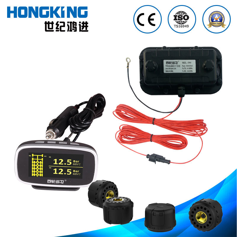 OLED Display Bilingual Truck Bus TPMS with Extermal Sensor for 2 to 24 Tires or Multi-Wheels Vehicle