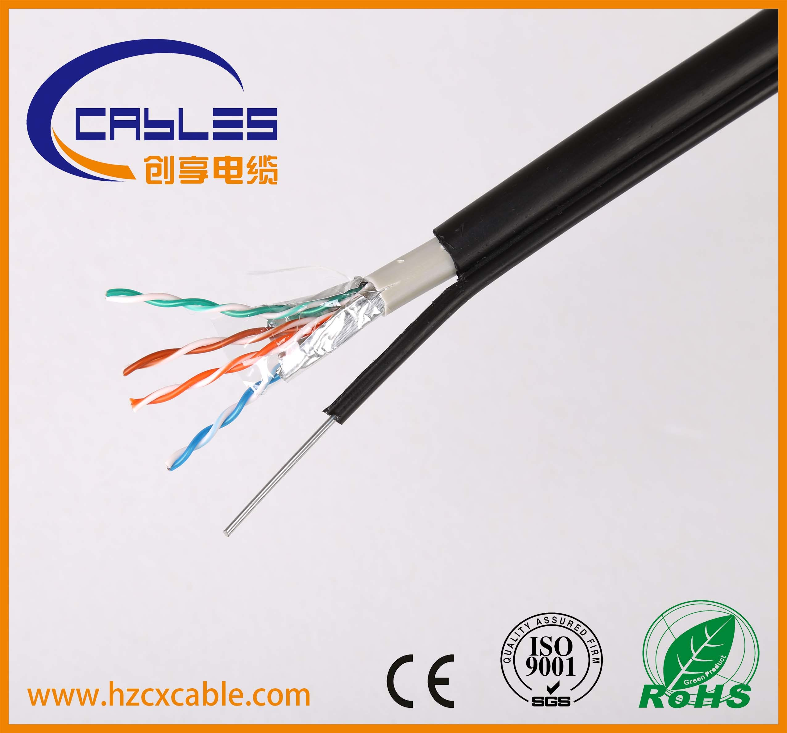 Cat5e CAT6 FTP UTP SFTP Outdoor Cable with Steel Messenger
