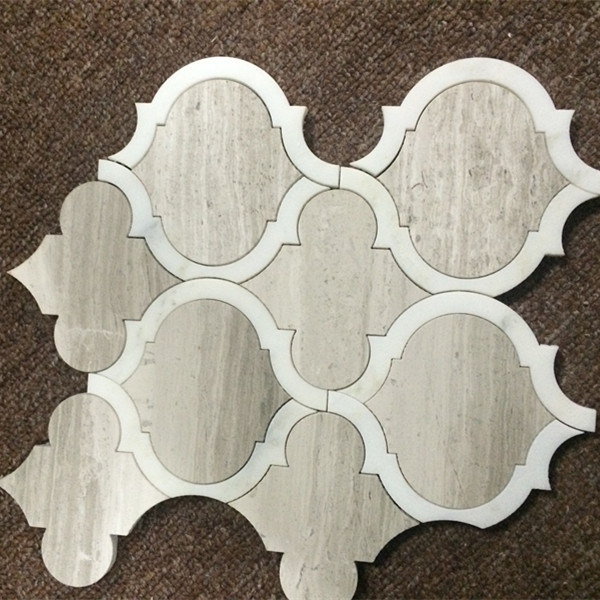Lantern Shape White Carrara Mosaic Tiles for Art Design