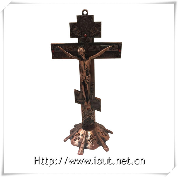 Antique Red Copper / Purple Bronze Church Decoration Metal Catholic Standing Crucifix, Handing Religious Cross (IO-ca094)
