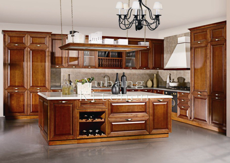 2017 New Design Factory Direct Classic Solid Wood Kitchen Cabinet