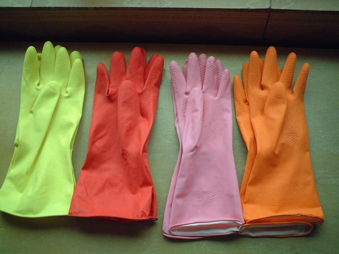 Flock Line Latex /Rubber Household Gloves