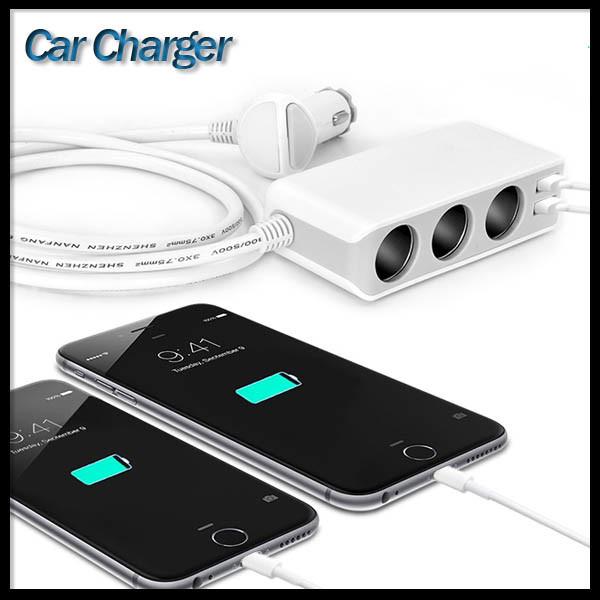 3 Cigarette Lighter Power Adapter DC Outlet Splitter Dual USB Car Charger