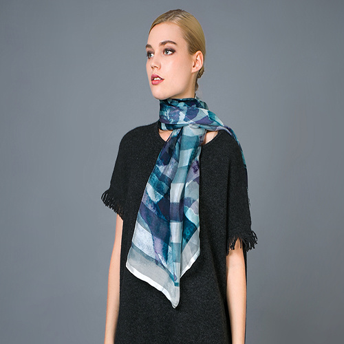 100% Stripe Silk Digital Print Hand Rolled Scarf