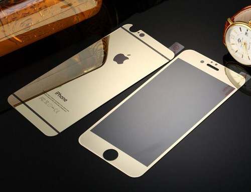 Tempered Glass Screen Protector for iPhone 6/6s Plus Electroplating Golden Color