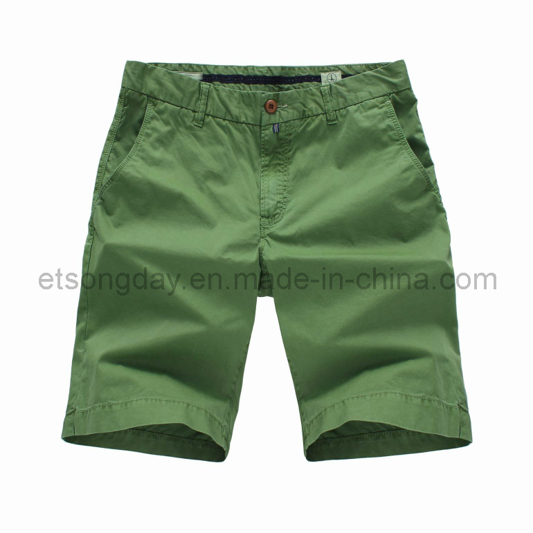 2016 Hot Sale Green 100% Cotton Men′s Shorts (APC-LENNY)