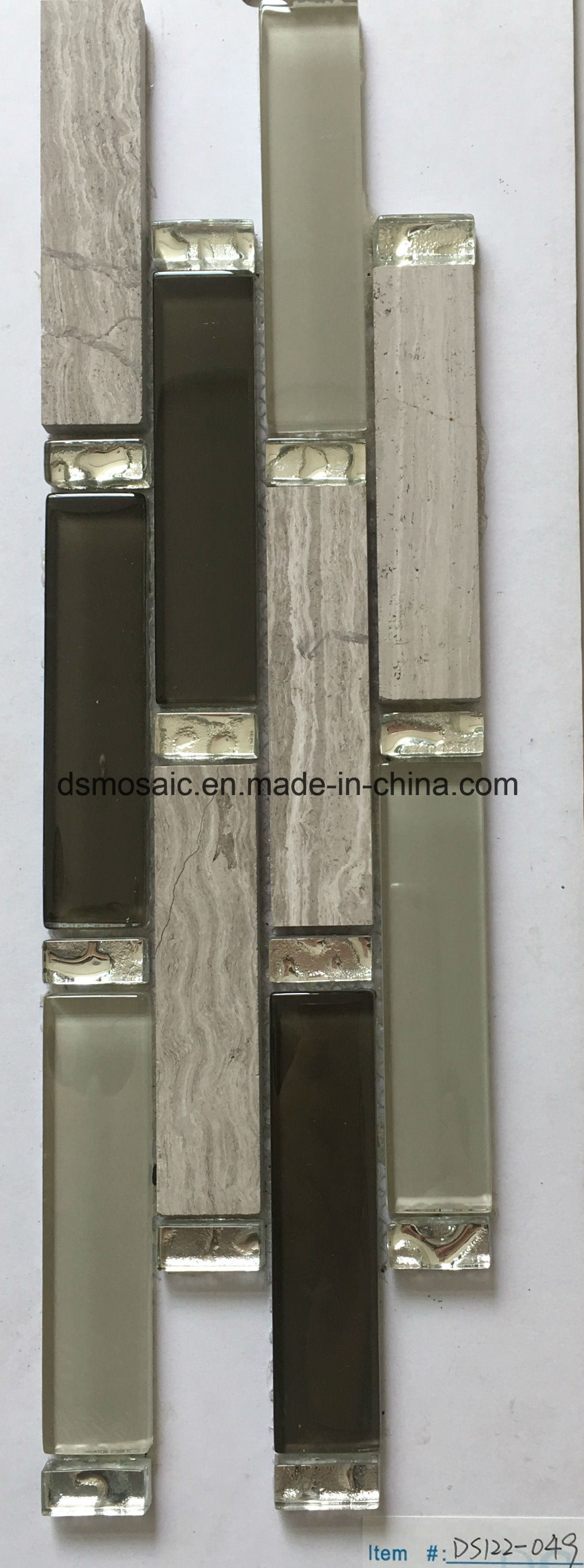 Classicial Stripe Wooden Marble and Glass Mosaic