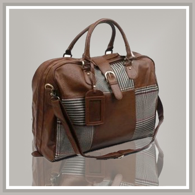 Mens Leather Travel Luggage Bag (320669869543