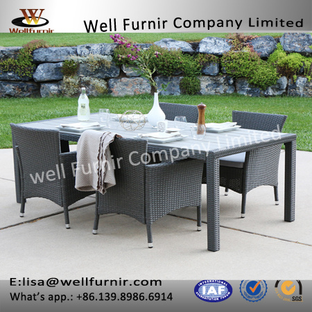 Well Furnir T-009 Family Gather Home 5-Piece Rattan Patio Dining Set