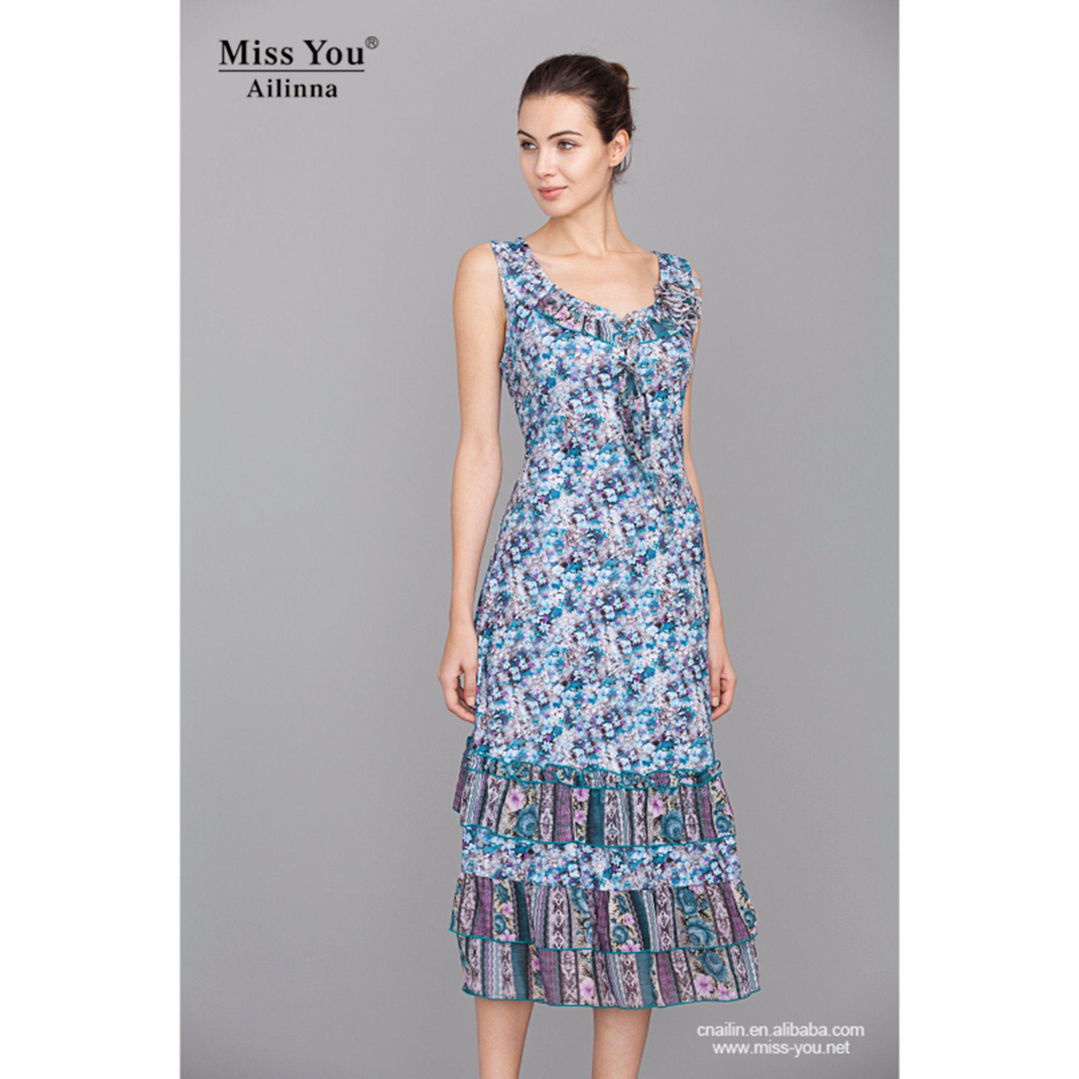 Miss You Ailinna 100938-1 Dress Distributor Blue Floral Slip Dress New Design Beach Dress