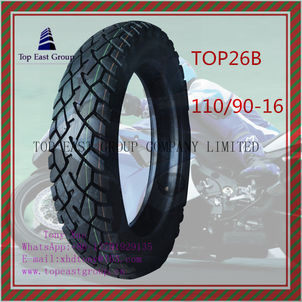 Tubeless 6pr Nylon Motorcycle Tyre with 110/90-16