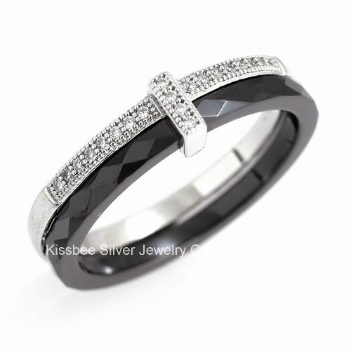 Ceramic and 925 Sterling Silver Ring Jewelry (R20034)