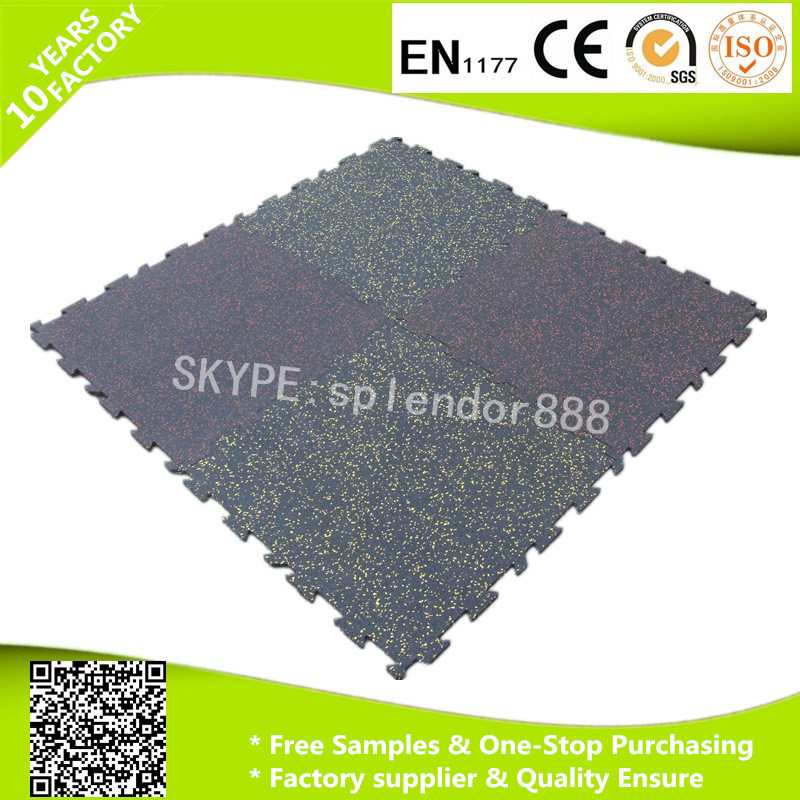 Anti-Slip Interlocking Rubber Flooring Tiles for Fitness Center Heavy Duty Shockproof
