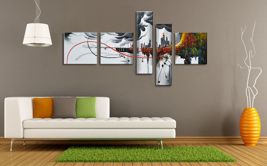 Home Decor Wall Groupings : China hand painted group piece modern framed home decor