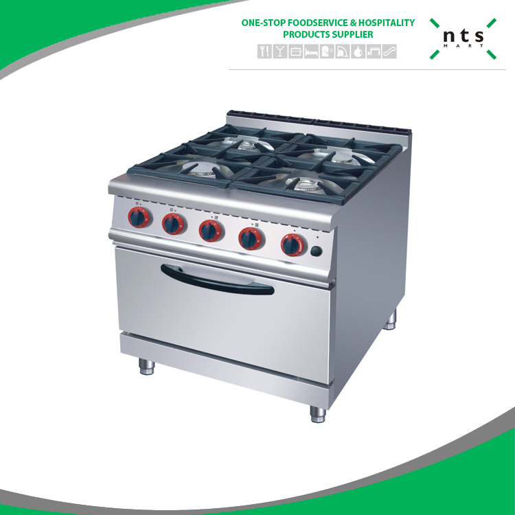 4 Four Gas Burner with Gas Oven for Hotel Restaurant Kitchen Equipment