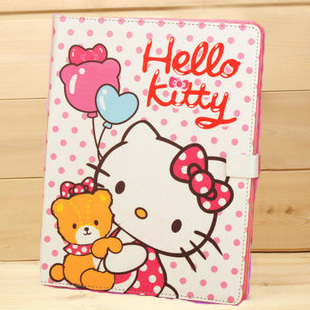 Leather Case Cover for iPad2 Tablet PC Hello Kitty with Stand Holder