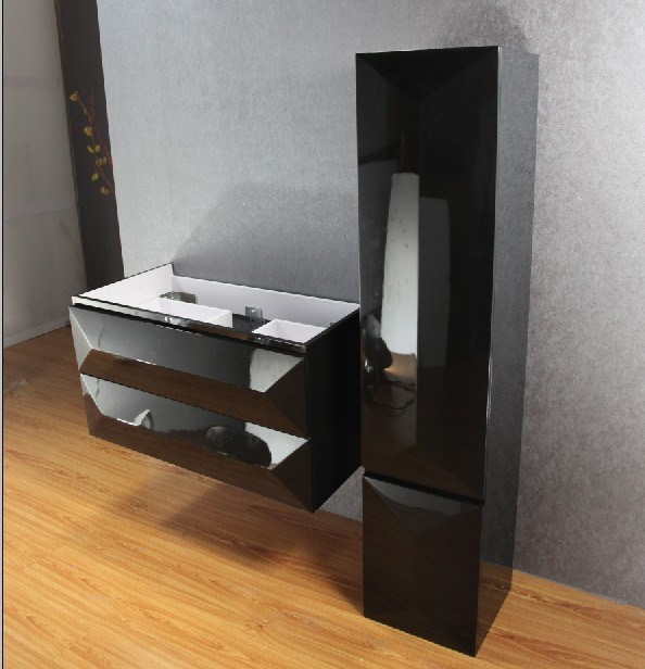 Hot Sale Modern Black MDF Bathroom Cabinet with Sink (SW-1316)