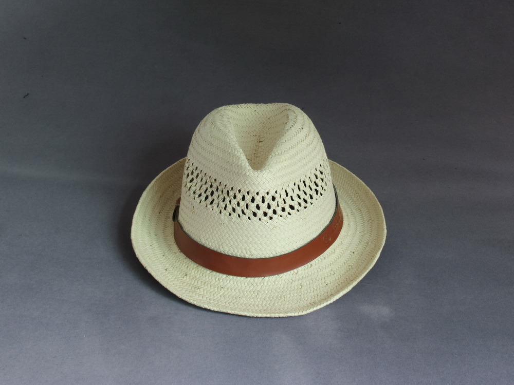 Embossed Logo Paper Straw Hat with PU Decorate