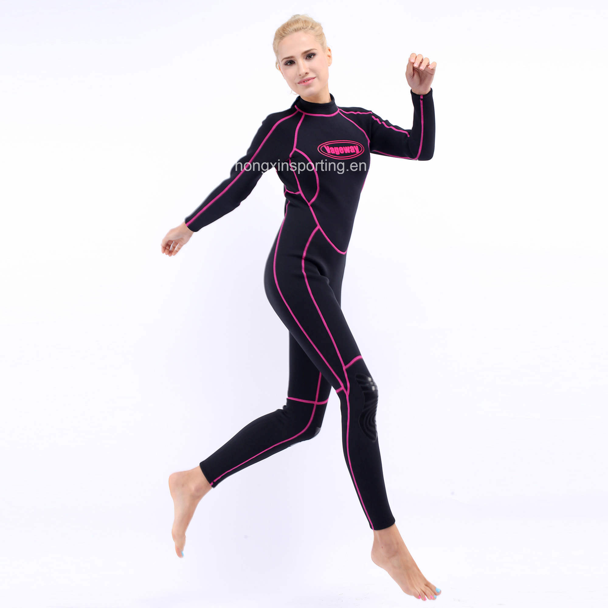 Women`S Long Neoprene Surfing Wetsuit with Black Nylon Both Sides (HX-L0172)
