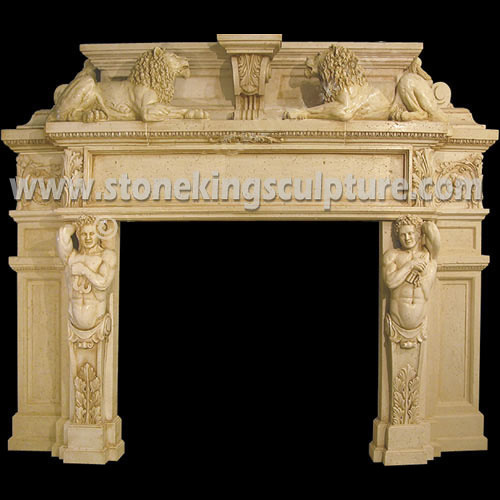 Carved White Marble Fireplace (SK-21888)