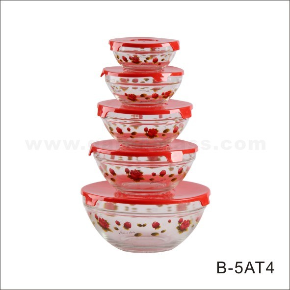 5PCS Glass Bowl with Decals (GB1401/TH)