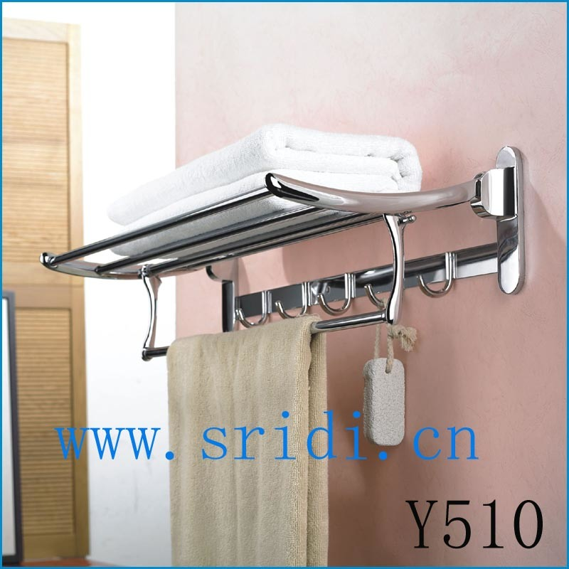 Creative Wall Mounted Towel Rack Holder Hotel Bathroom Storage Shelf Bar Chrome