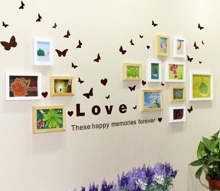 DIY 13-Frames Wooden Photo Frame Modern Creative Combination Home Decor