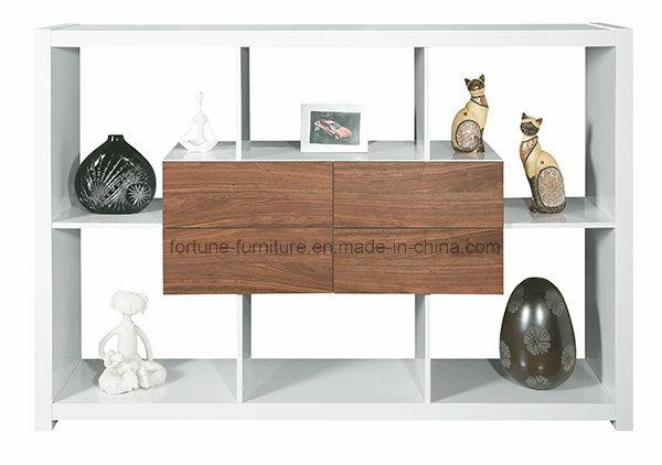 Wooden UV High Gloss White & Walnut Display Cabinet P6265wu05
