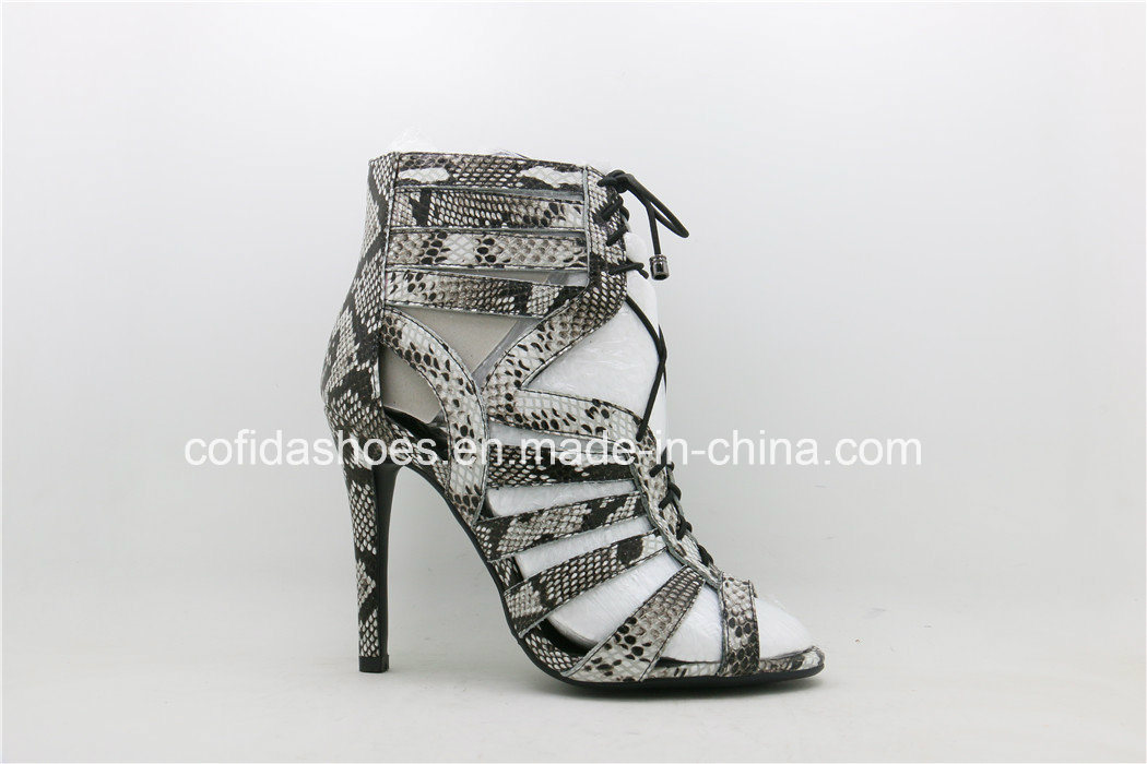 Sexy Comfort High Heels Snake Leather Sandal