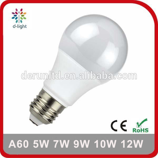 A60 Standard E27 B22 Plastic Aluminum SMD2835 Ra>80 PF>0.5 5W 7W 8W 9W 10W 12W LED Bulb Light with Ce RoHS