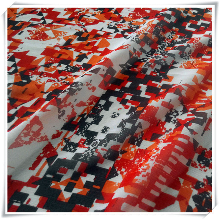100% Polyester Crinkle Chiffon Printed