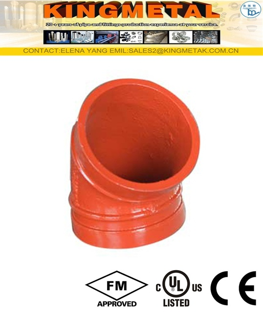 "2"" Inch Ductile Iron 45 Degree Grooved Elbow"