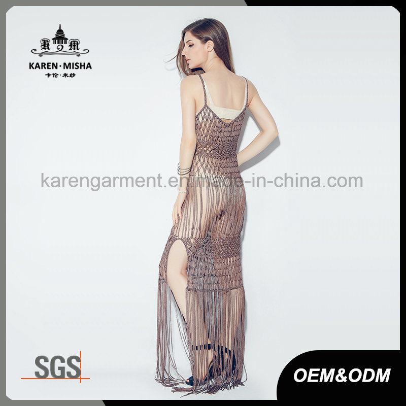 Women Maxi Mass Brown Crochet Slip Dress