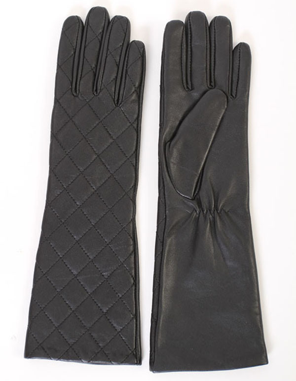 Lady Fashion Checked Sheepskin Leather Long Dress Warm Gloves (YKY5172)