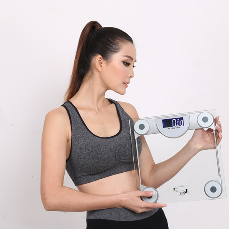 200kg Square Clear Glass Digital Body Weighing Machine Health Scale