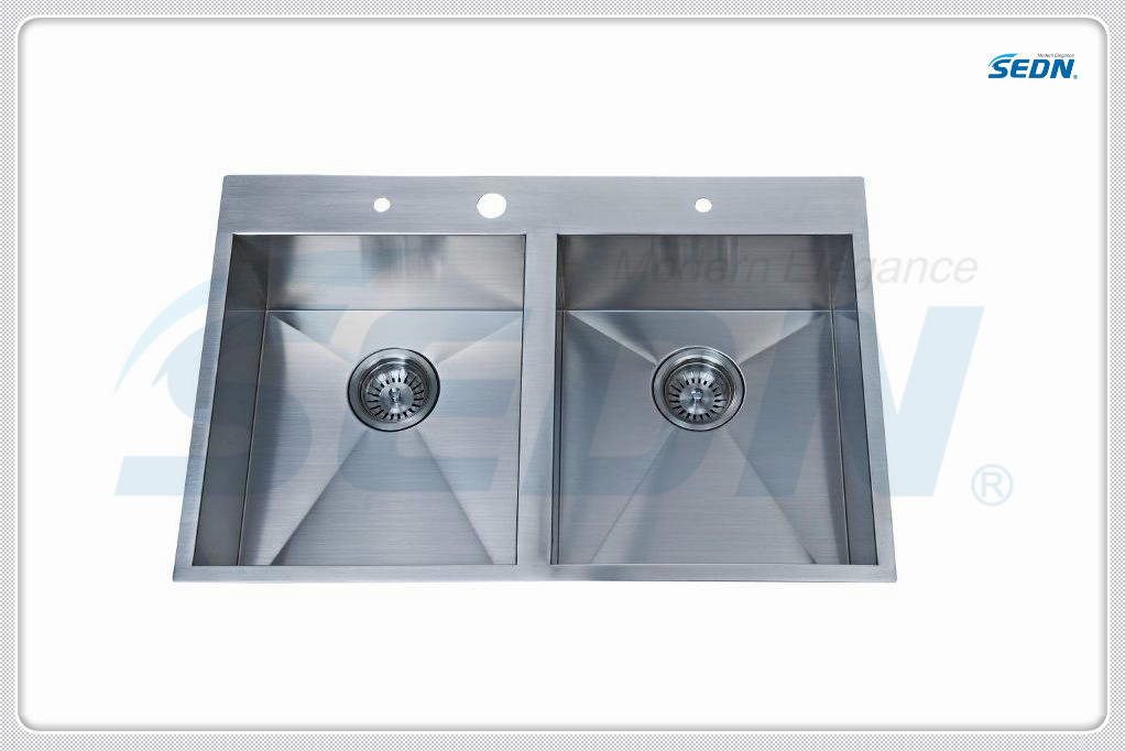 Handmade Double Bowl Stainless Steel Sinks (SA2004)