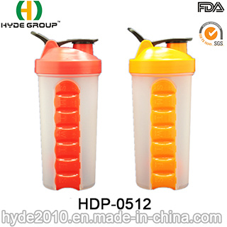 600ml Blender Shaker Bottle with Pill Boxes (HDP-0512)