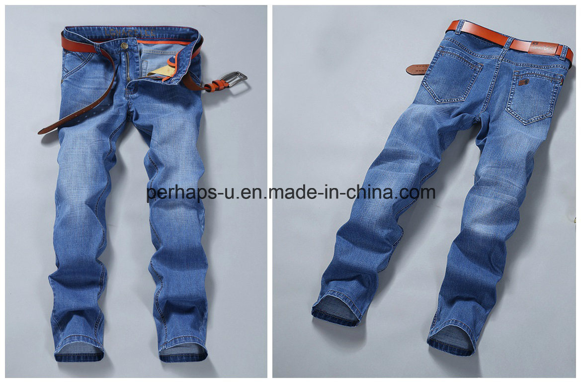 High Quality Men′s Jeans Young Straight Business Casual Pants