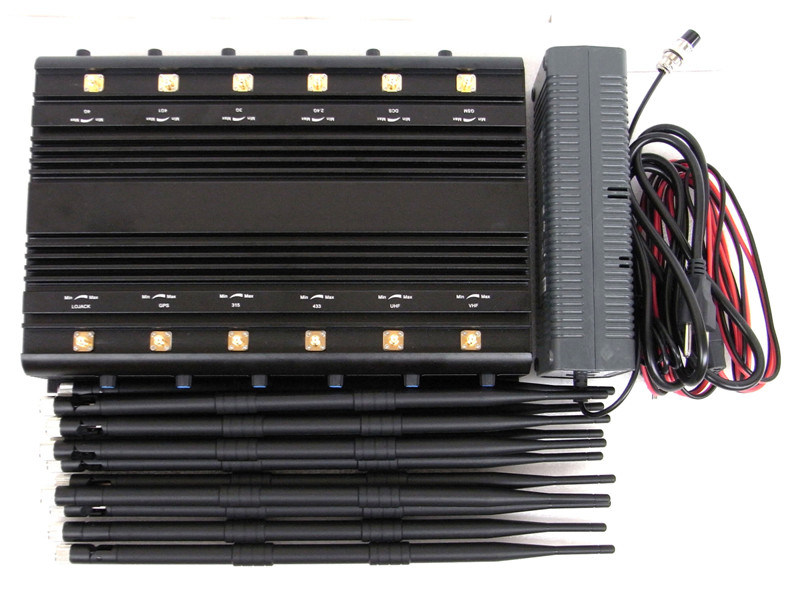 Stationary 12 Bands Jammer for All Cellphones, Remote Control, VHF/UHF Radio Jammer/Blocker; All in One Jammer/Blocker